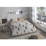 Bettwäsche Lisa 140/200cm Weiß/Beige - Beige/Weiß, Basics, Textil