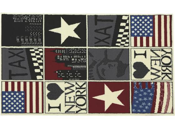 Webteppich New York 100x160 cm - Multicolor, KONVENTIONELL, Textil (100/160cm) - Ombra