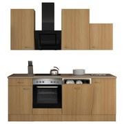 Küchenblock Nano 220 cm Buche - Edelstahlfarben/Buchefarben, MODERN, Holzwerkstoff (220/60cm)