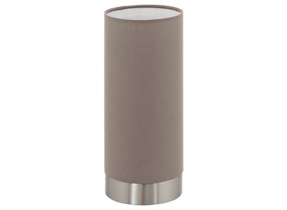 Tischleuchte Pasteri - Taupe/Nickelfarben, MODERN, Textil/Metall (12/25,5cm)
