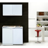 Miniküche Respekta B: 100 cm Weiß - Weiß, MODERN, Holzwerkstoff/Metall (100/87/60cm) - MID.YOU