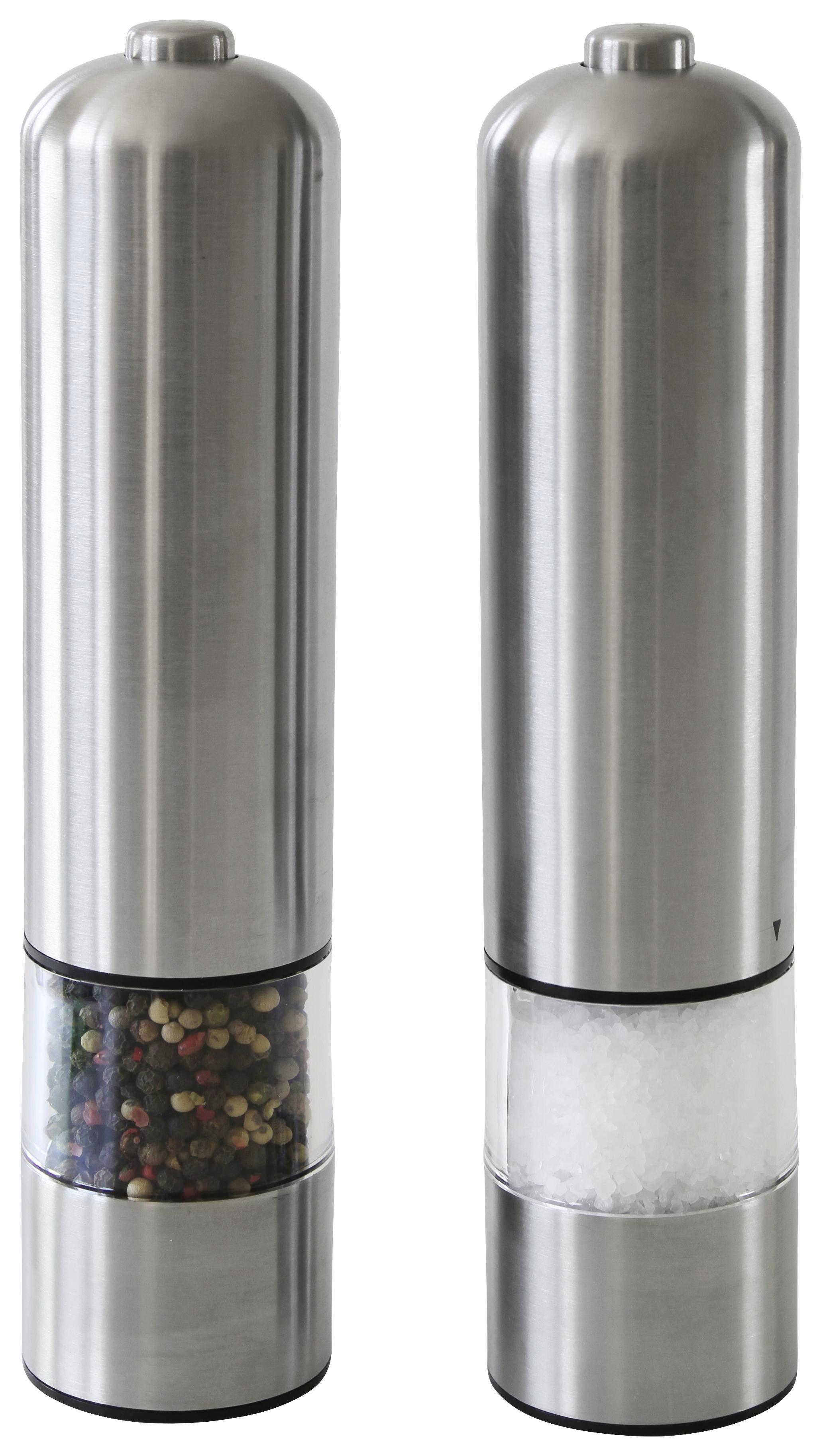 ausgestellte Form aus Edelstahl schwarz elektrische Salz- und Pfefferm/ühle ProCook 2-teiliges Set
