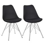 Stuhl-Set Ursel Kunststoff Schwarz mit Sitzkissen - Chromfarben/Schwarz, MODERN, Kunststoff/Metall (48/86/56cm) - MID.YOU