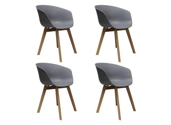 Stuhl-Set Noan 4-Er Set Grau - Naturfarben/Grau, MODERN, Holz/Kunststoff (60/78,5/44cm) - Livetastic