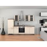 Küchenblock Eico 270cm Magnolie - Edelstahlfarben/Eichefarben, MODERN, Holzwerkstoff (270cm) - MID.YOU