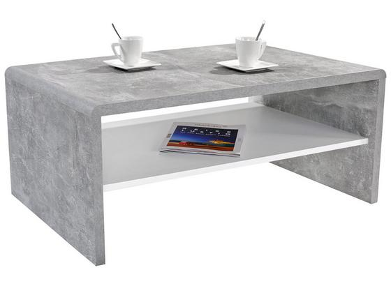 Couchtisch Holz mit Ablage Cala Luna, Betonoptik/Weiß - Weiß/Grau, MODERN, Holzwerkstoff (100/40/59cm)
