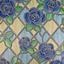 Glasdekorfolie Blumenmosaik - Blau/Grün, Kunststoff (67,5/200cm)