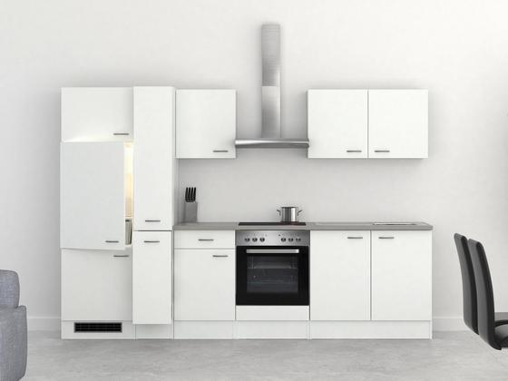 Küchenblock Wito 300cm Weiß - Edelstahlfarben/Weiß, MODERN, Holzwerkstoff (300/60cm)