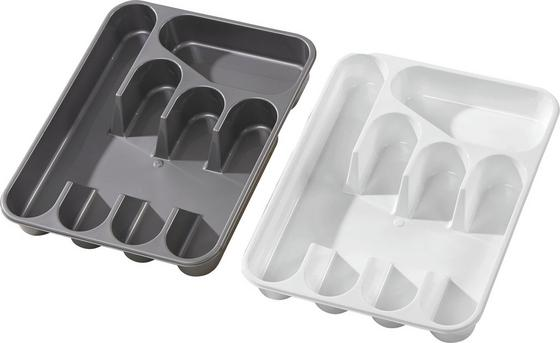 Besteckbox Heidrun - Silberfarben/Weiß, KONVENTIONELL, Kunststoff (35/26/4,5cm) - Ombra