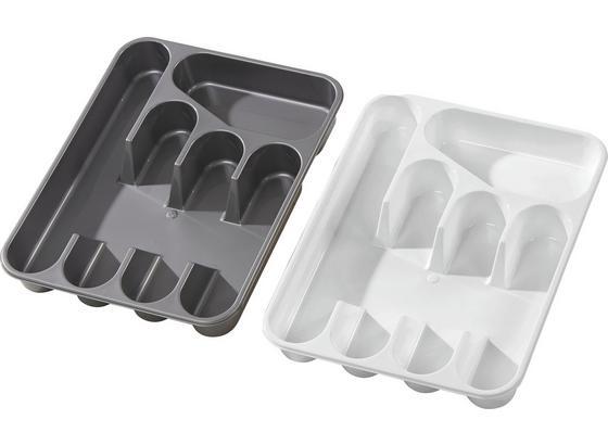 Evőeszköztartó Heidrun - Fehér/Ezüst, konvencionális, Műanyag (35/26/4,5cm) - Ombra