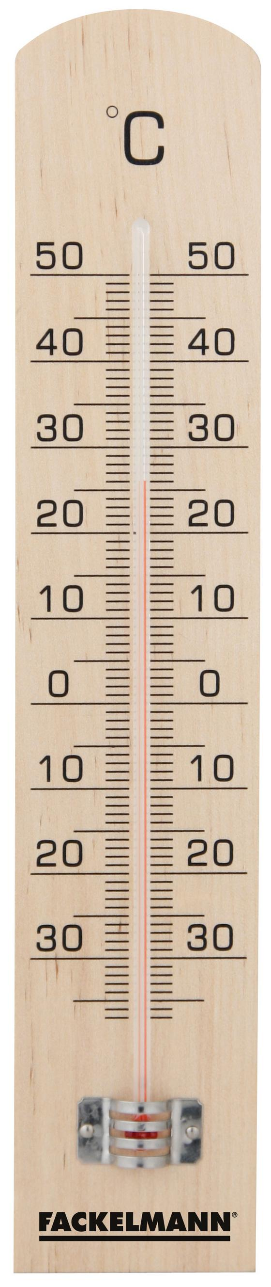 Hőmérő Fackelmann - világosbarna, konvencionális, fa (25cm)