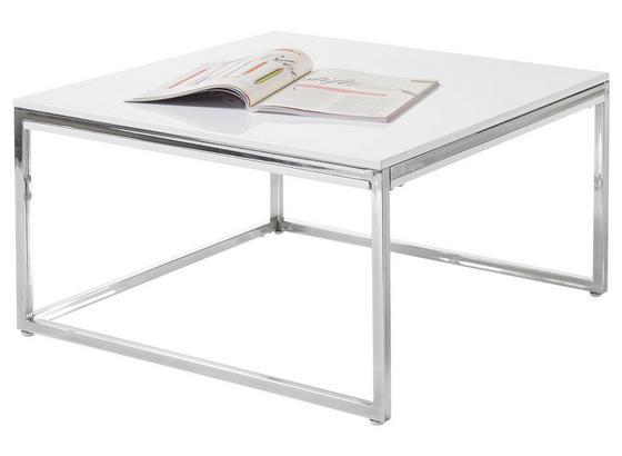 Couchtisch Reno B: 70cm Weiß/Silberfarben - Silberfarben/Weiß, Design, Holzwerkstoff/Metall (70/40/70cm) - Livetastic