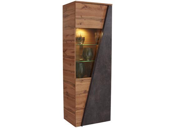 Vitrína Venedig - farby dubu/tmavohnedá, Moderný, kompozitné drevo/sklo (70/196/37cm)