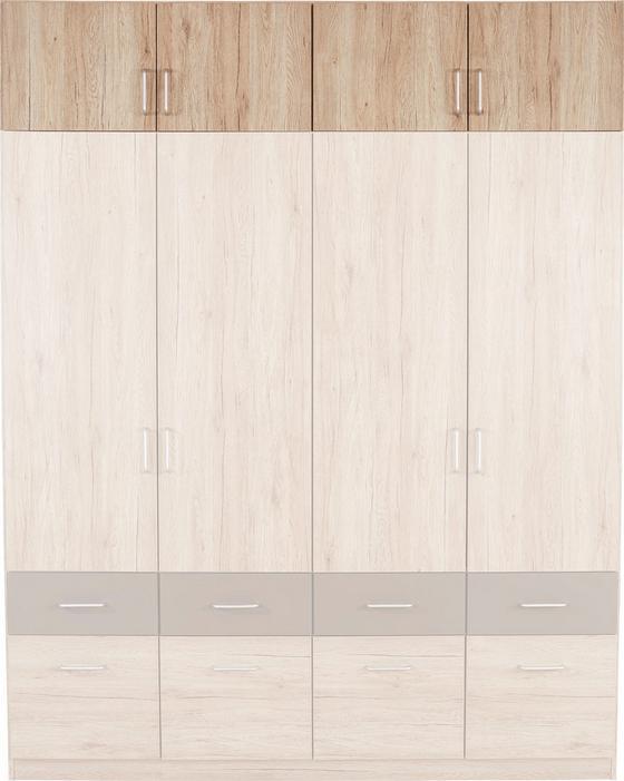 Aufsatzschrank Aalen Extra, 181cm - Eichefarben, KONVENTIONELL, Holzwerkstoff (181/39/54cm)