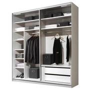 Schwebetürenschrank mit Schubladen 188cm Includo - Weiß/Grau, MODERN, Glas/Holzwerkstoff (188/222/68cm)