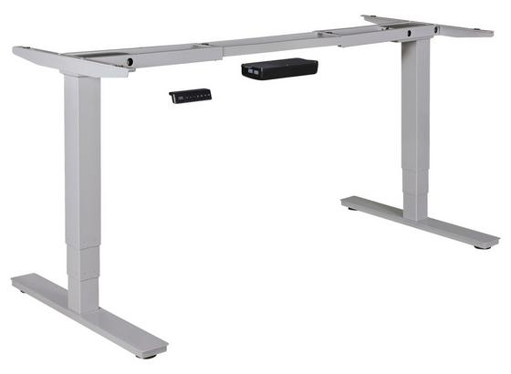Tischgestell Höhenverstellbar B 105-182cm Stahl Silberfarben - Silberfarben, Basics, Metall (105/70/63cm) - Livetastic