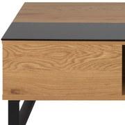 Couchtisch mit Aufklappbarer Tischplatte+ablagefach Azalea - Eichefarben/Schwarz, Design, Glas/Holzwerkstoff (110/60/35cm) - Carryhome