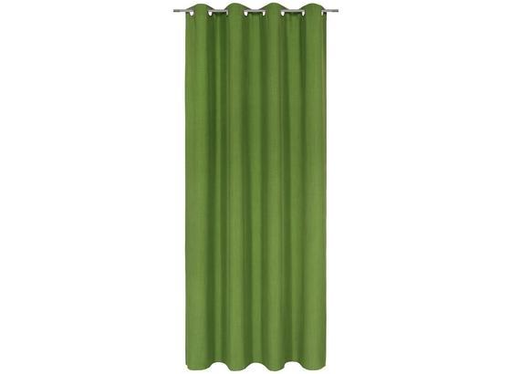 Ösenvorhang U - zelená, textil (140/245cm) - Mömax modern living