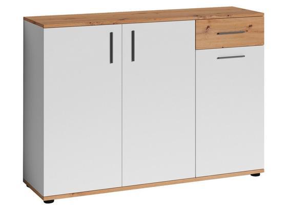 Kommode B 110cm Justus, Weiß/Eiche Dekor - Eichefarben/Schwarz, MODERN, Holzwerkstoff/Kunststoff (110/83,5/35,5cm) - MID.YOU