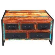 Couchtisch Faro B: 90 cm Recyclingholz - Multicolor/Schwarz, Basics, Holz/Metall (90/47/90cm)