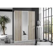 Drehtürenschrank mit Spiegel + Laden 135cm Skate, Eiche/Weiß - Eichefarben/Weiß, Design, Holzwerkstoff (135/198/58cm) - MID.YOU