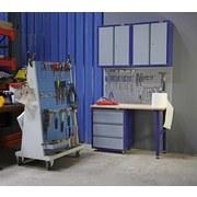 Werkbankset Medium 134 cm Grau/blau - Blau/Buchefarben, KONVENTIONELL, Holz/Metall (134/232/60cm) - Erba