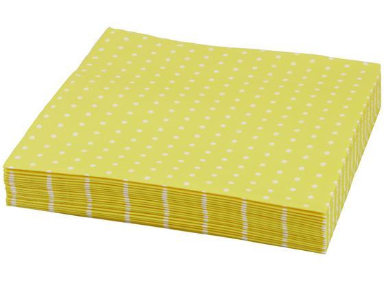 Ubrousek Mini Dots - bílá/žlutá, papír (33/33cm)