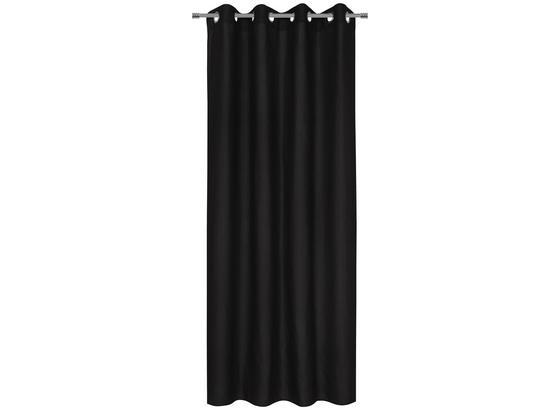 Záves S Krúžkami Abby - čierna, Konvenčný, textil (140/235cm) - Mömax modern living