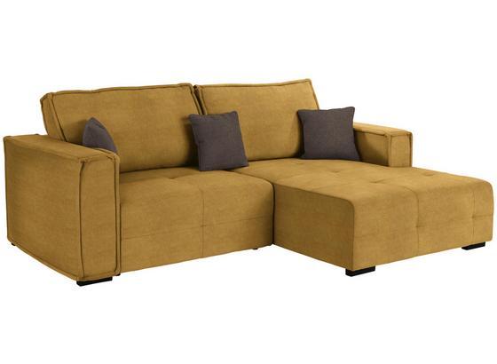 Wohnlandschaft In L-Form Tommy 265x167 cm - Taupe/Gelb, LIFESTYLE, Holz/Textil (265/167cm) - Luca Bessoni
