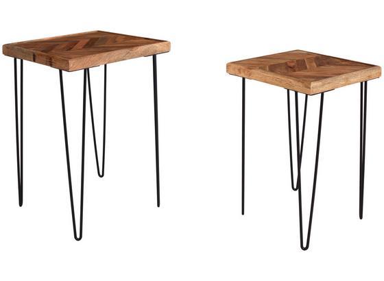 Beistelltisch Beistelltischset 2er - Schwarz/Braun, MODERN, Holz/Metall (40/40/58cm)