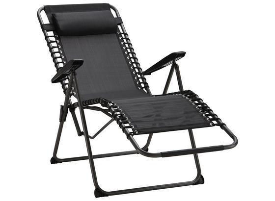 Záhradné Relaxačné Kreslo London - čierna/sivá, umelá hmota/kov (64,5/112/76/99/169cm) - Modern Living