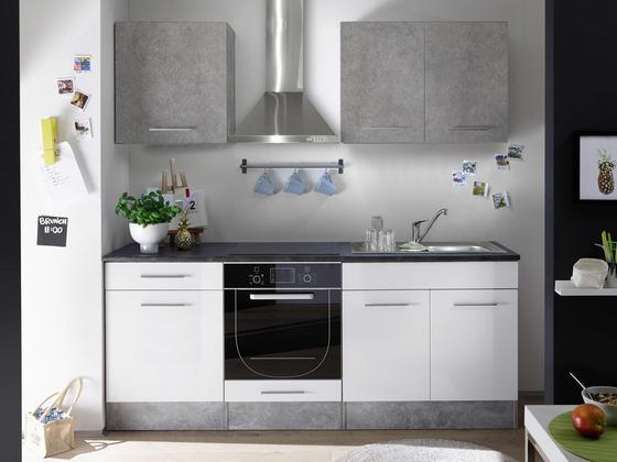 Kuchynská Linka Welcome Stone Mini - sivá/biela, Moderný, drevený materiál (210/206/60cm)