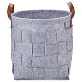 Regalkorb Alberich M - Braun/Grau, ROMANTIK / LANDHAUS, Leder/Textil (31/28cm) - James Wood