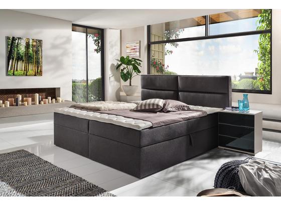 Boxspringbett mit Topper & Bettkasten 195x220cm Mercura - Graphitfarben, MODERN, Holzwerkstoff/Textil (180/200cm)