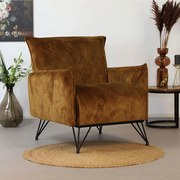 Sessel Mika Luxury B: 72cm Dunkelgelb - Dunkelgelb/Schwarz, Design, Textil (72/85/77cm) - Livetastic