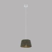 Hängeleuchte Dovenby H: 110 cm 1-Flammig, Gefochtener Schirm - Braun/Weiß, MODERN, Holz/Metall (25/110cm)