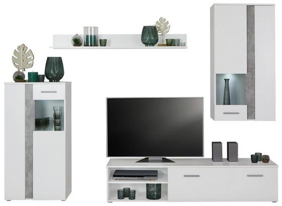 Obývacia Stena Meran Light - sivá/biela, Moderný, kompozitné drevo (225/190/38cm)