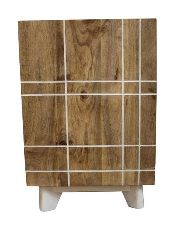 Kommode Mango 40 cm Echtholz - Weiß/Naturfarben, KONVENTIONELL, Holz/Holzwerkstoff (40/60/35cm)