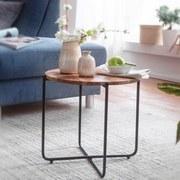 Couchtisch Holz mit Massiver Tischplatte, Akazie - Schwarz/Akaziefarben, LIFESTYLE, Holz/Metall (42,5/42,5/40,5cm) - Livetastic