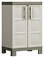 Kunststoffschrank Excellence Cabinet Niedrig - Sandfarben/Grau, MODERN, Kunststoff (65cm) - Keter