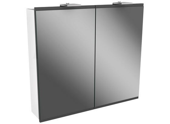 Spiegelschrank mit Türdämpfer + Led Lima B: 80cm, Weiß+grau - Weiß, MODERN, Glas/Holzwerkstoff (80/73/15,5cm) - Fackelmann