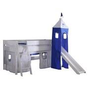 Spielbett Kim 90x200 cm Buche Massiv - Blau/Weiß, Design, Holz (90/200cm)