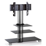"""TV-Rack Bis 37"""" Schwenkbar Amalo Mini Max. 35 Kg - Schwarz/Alufarben, KONVENTIONELL, Glas/Metall (100/107/44cm) - MID.YOU"""