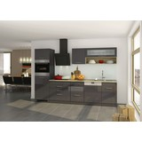 Küchenblock Mailand Gsp B: 300cm Anthrazit - Eichefarben/Anthrazit, Basics, Holzwerkstoff (300cm) - MID.YOU