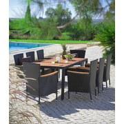 Gartenset Moa Echtholz Akazie 9-Teilig - Beige/Schwarz, MODERN, Holz/Kunststoff - James Wood