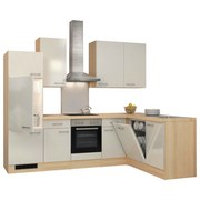 Eckküche Abaco 280x170 cm Perlmutt - Edelstahlfarben/Perlmutt, MODERN, Holzwerkstoff (280/170cm) - Bessagi Home