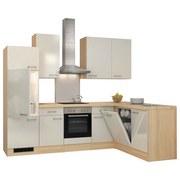 Eckküche Abaco 280x170 cm Perlmutt - Edelstahlfarben/Perlmutt, MODERN, Holzwerkstoff (280/170cm)
