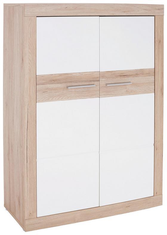 Komoda Highboard Malta - farby dubu/biela, Moderný, drevo (96/132/35cm)