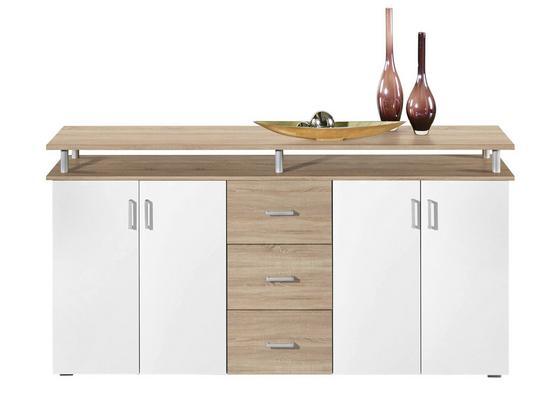 Komoda Sideboard Lift - bílá/barvy dubu, Moderní, dřevěný materiál (178/90/38cm)