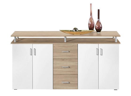 Komoda Sideboard Lift - bílá/barvy dubu, Moderní, kompozitní dřevo (178/90/38cm)